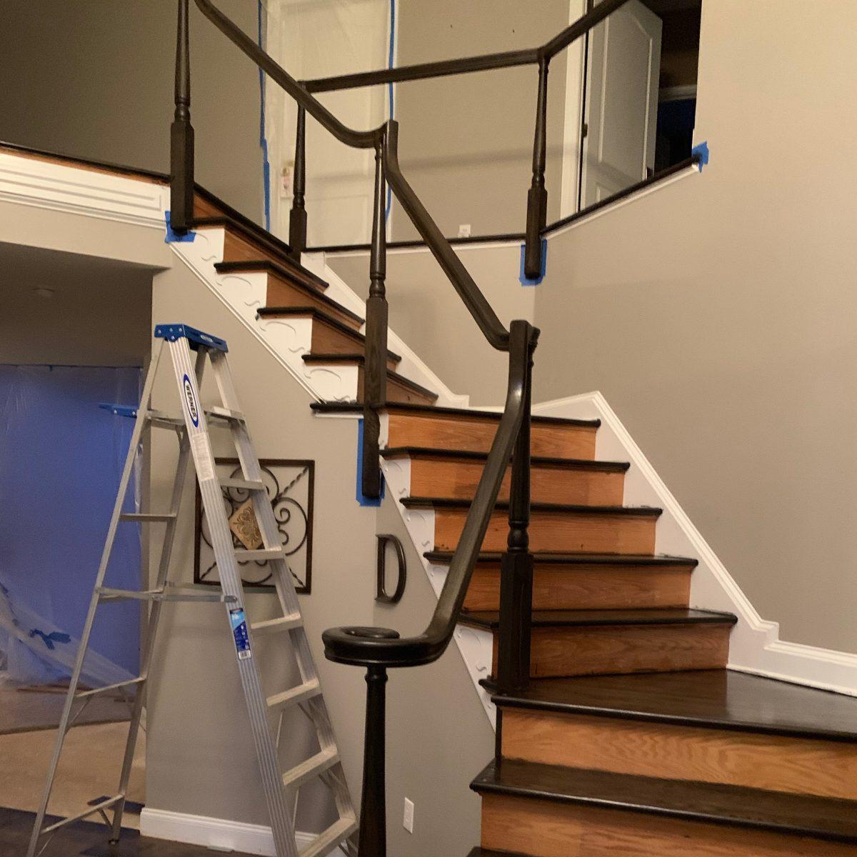 wood stair refinishing progress