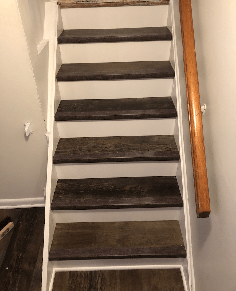 Vinyl Plank on Stairs - After
