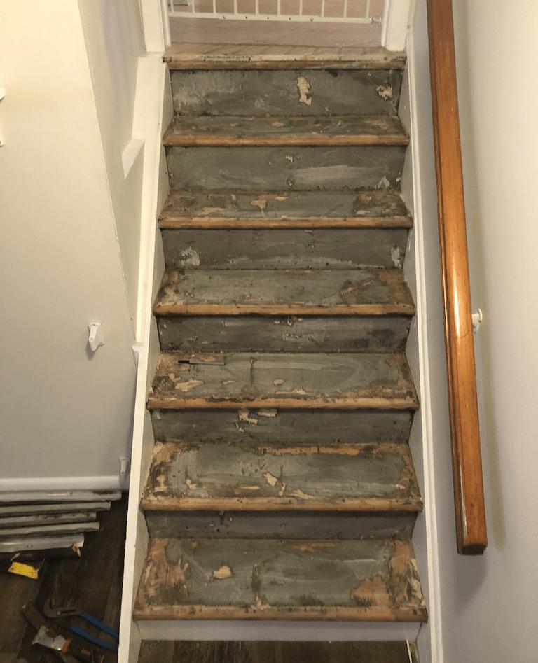 vinyl plank on stairs before - Westfield NJ