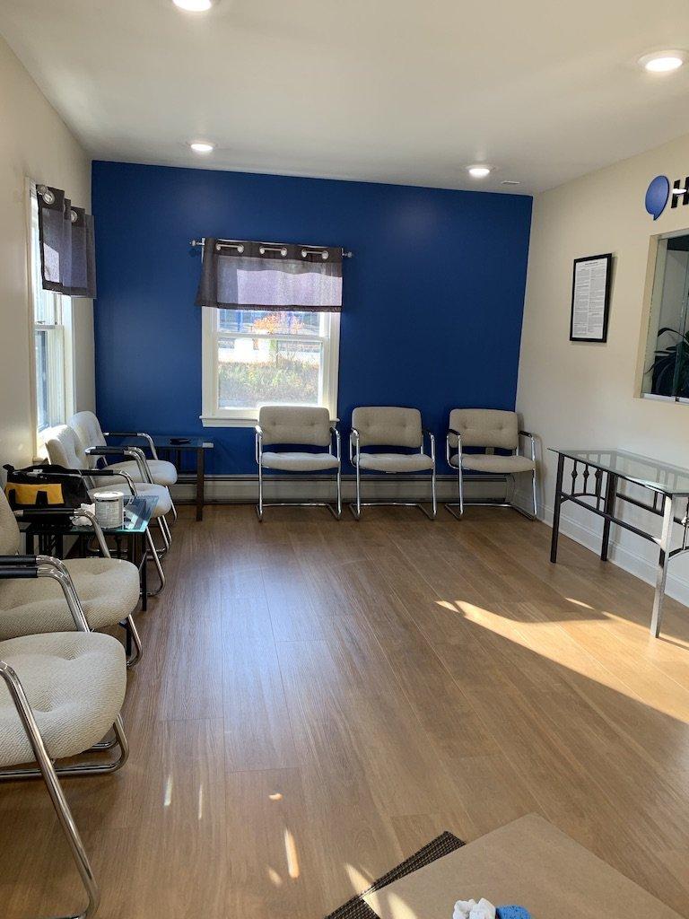 Waiting room with luxury vinyl plank