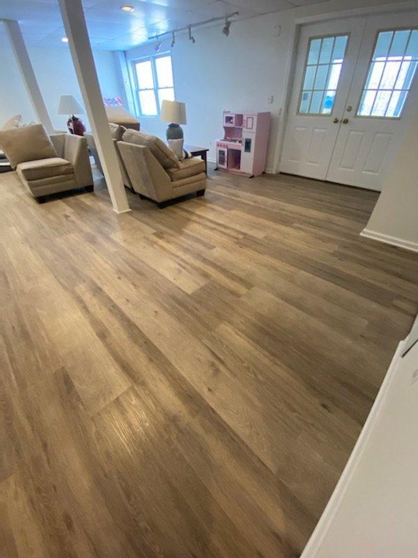 Luxury Vinyl Plank Flooring install Mendham NJ Rec Room