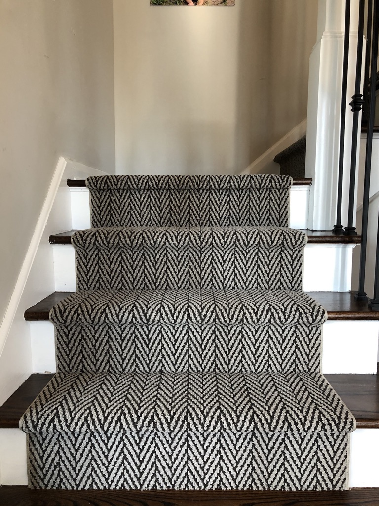 custom Tuftex stair runner install in Caldwell-NJ