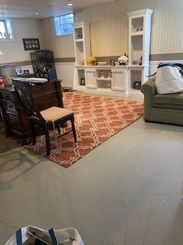 rec room flooring install - before