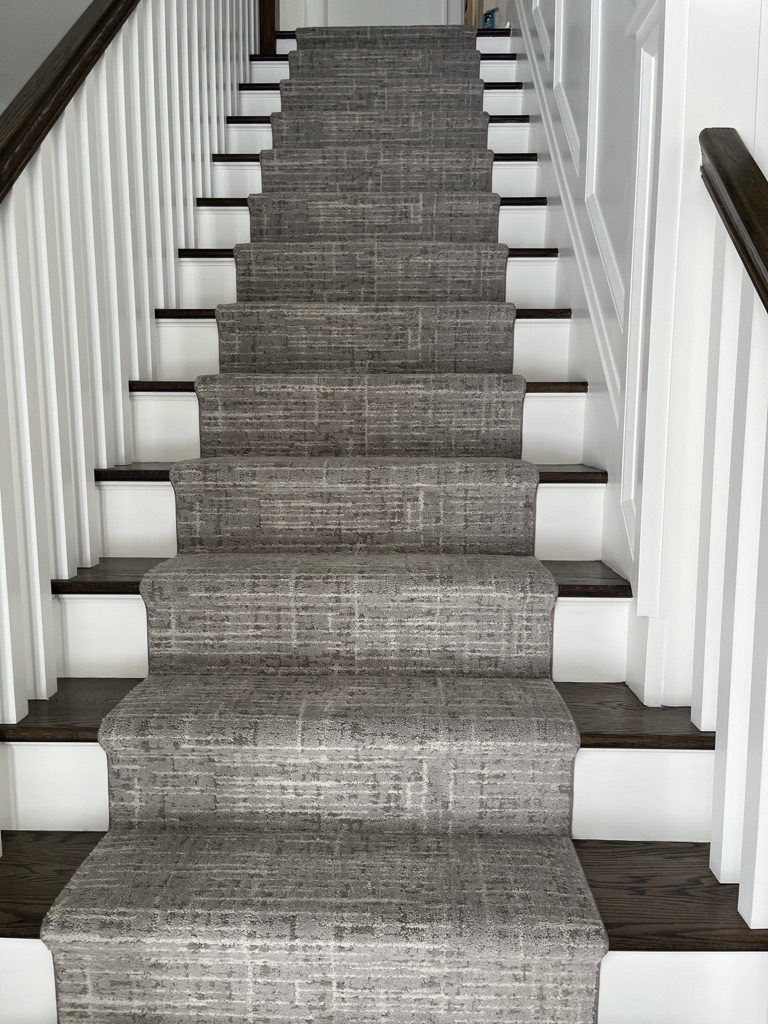 Custom staircase runner made from Fabrica Visage